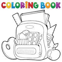 Coloring book schoolbag theme 1