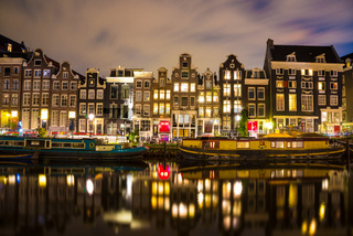 Night scene in one of the multiple canals in Amsterdam