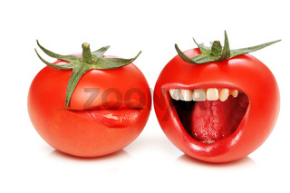 Funny concept with tomatoes and open mouth