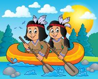 Native American children in boat theme 3