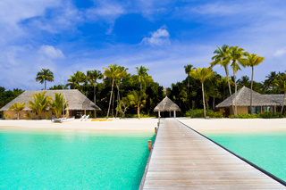 Beach bungalows on a tropical island