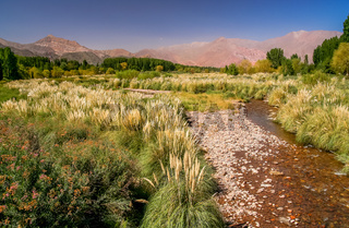 Beautiful Uspallata river valley