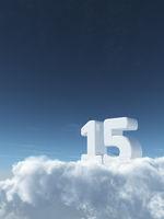 die zahl fünfzehn auf wolken - 3d rendering