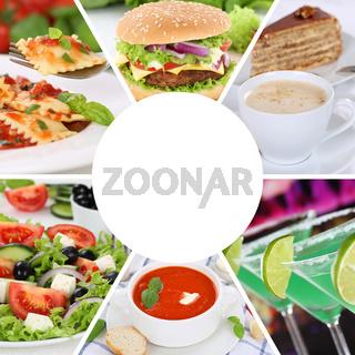 Sammlung Collage Karte Speisekarte Essen und trinken Gerichte Restaurant