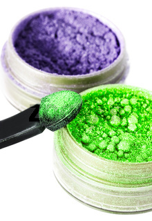 green and violet make-up eyeshadows