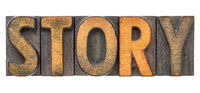 story word in vintage letterpress wood type