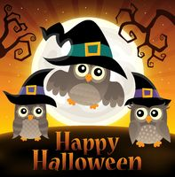 Happy Halloween sign with owls 2