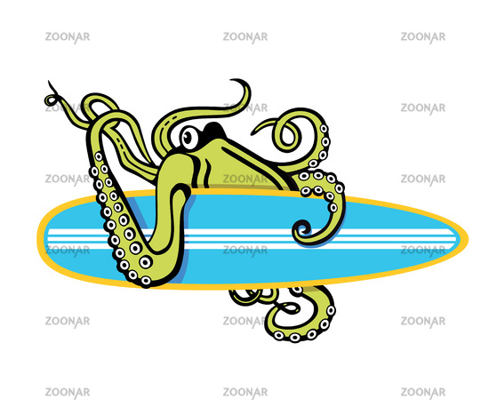 Octopus with surfboard illustration on white