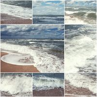 Collage of summer beach and sea images. Summertime nature toned set of pictures