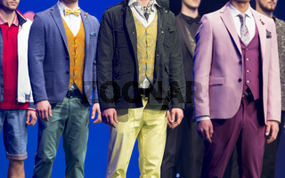Fashion show runway beautiful colourful suits