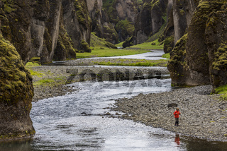 Fjadrargljufur Canyon Iceland with Boy