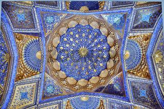 SAMARKAND, UZBEKISTAN - MAY 04, 2014: Ceiling of Aksaray mausoleum