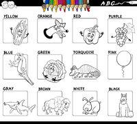 basic colors educational worksheet for coloring