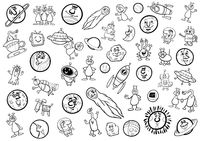 space cartoon set coloring page