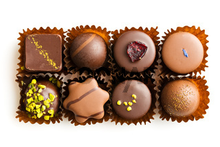 Various chocolate pralines.