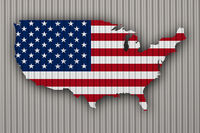 Karte und Fahne der USA auf Wellblech - Map and flag of the USA on corrugated iron
