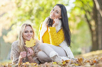 Women sitting in autumn park