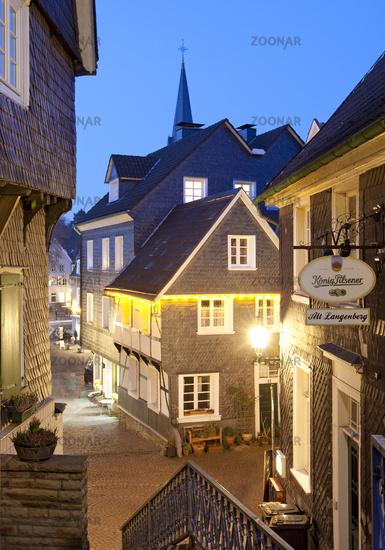 historical old city of Langenberg in the twilight, Velbert, North Rhine-Westphalia, Germany, Europe
