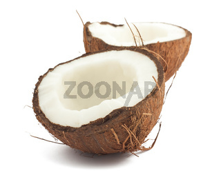 Cracked coconut on white background