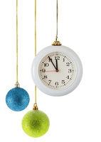 Christmas balls and clock