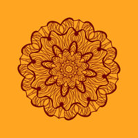 Mandala-like coloring work texture. Hand-drawn new-age pattern round lace. Abstract vector tribal ethnic yoga yantra background tile on henna color background