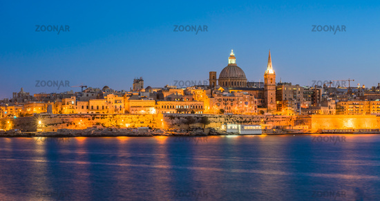 Sunset view of Valletta, the capital of Malta