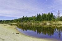 Autumn beach taiga river Big Yugan in Siberia