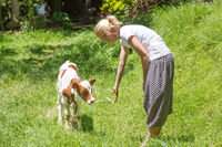 Woman caressing cute baby cow on meadow.