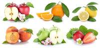 Früchte Apfel Orange Äpfel Orangen Erdbeere frische Frucht Collage Freisteller freigestellt isoliert