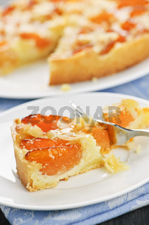 Slice of apricot and almond pie