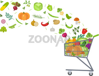 Full trolley, cart with fresh vegetables. Flat design. Banner, space for text, isolated on white background. Healthy lifestyle, vegan, vegetarian diet, raw food. Vector illustration