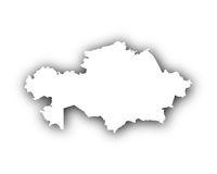 Karte von Kasachstan mit Schatten - Map of Kazakhstan with shadow