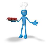 cartoonfigur mit kochmütze zeigt teller mit den buchstaben www - 3d illustration