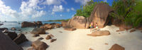Seychelles island Praslin with granite rocks