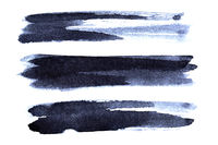 Set of dark bluish brush strokes
