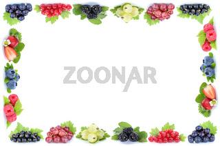 Beeren Erdbeeren Himbeeren Trauben Weintrauben Rahmen Früchte Textfreiraum Copyspace