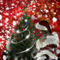 Young woman in Santa Claus clothes over Christmas background