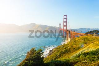 Golden Gate Bridge High Key Sunlight Fort Point