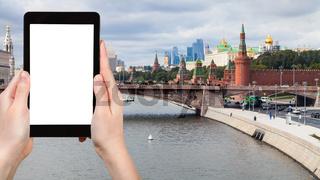 tourist photographs Moscow city and Kremlin