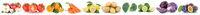Obst und Gemüse Früchte Äpfel, Orangen Kraut Tomaten Essen Freisteller in einer Reihe