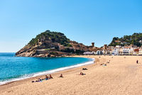 View of a Vila Vella, the oldest part of the town of Tossa del Mar, Costa Brava, Catalonia, Spain