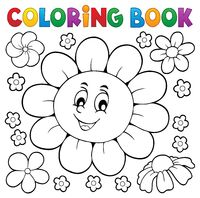 Coloring book happy flower head 1