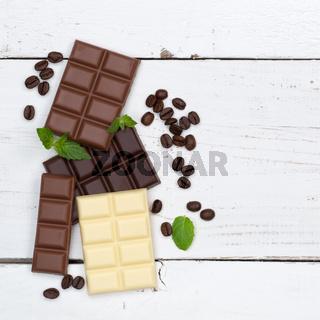 Schokolade Tafel Süßigkeiten Essen quadratisch Textfreiraum von oben