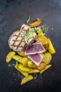 Tuna Steak with Hash Browns