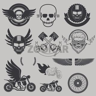 Motorcycle race, motorcycle club, biker club, motorcycle shop logo template. Emblem, label, or badge template. Design elements in vector.