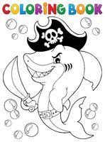 Coloring book pirate shark topic 1