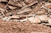 Pile of rubble at a demolition site