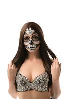 Santa Muerte. Brunette with creative face art