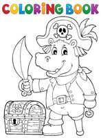 Coloring book pirate hippo image 1