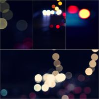 circles of bright lights in in the dark collage of toned images